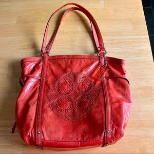 Coach Embossed patent leather tote